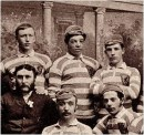 Andrew Watson with members of the Scottish team that played against England at the first Hampden Park on the 11 March 1882.
